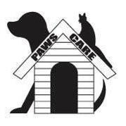 Paws Care (Hillsboro, Illinois) logo of dog house, dog, cat, tail, paws care