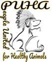 People United for Healthy Animals (Quanah, Texas) logo of dog, cat, native American headpiece, PUHA