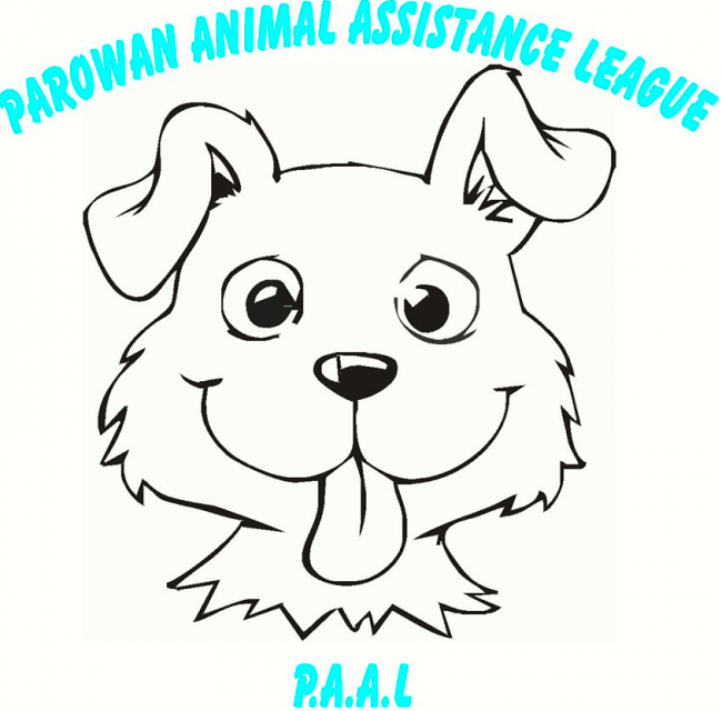 """Parowan Animal Assistance League (Parowan, Utah) logo is smiling dog caricature with their name in blue and """"P.A.A.L."""""""