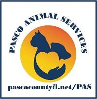 Pasco Animal Services (Land O'Lakes, Florida) logo is a yellow and orange circle with a heart made by a cat, dog, and arm