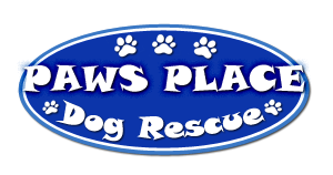 """Paw's Place (Winnabow, North Carolina) logo is a blue oval """"PAWS PLACE Dog Rescue"""" and pawprints in white"""