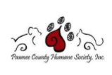Pawnee County Humane Society, Inc., (Larned, Kansas) logo red paw print with dog and cat outlined either side