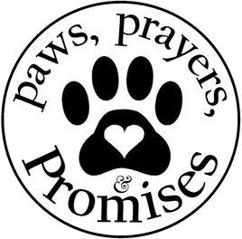 Paws, Prayers, and Promises (Tryon, North Carolina) logo of circle, paw print, heart, paws, prayers and promises text