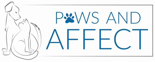 Paws & Affect Animal Rescue (Woodstock, Illinois) logo with cat and dog to left of organization name