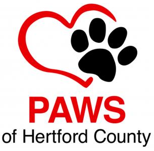 Paws of Hertford County (Murfreesboro, North Carolina) logo red heart outline with black paw print on right side
