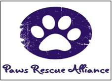 Paws Rescue Alliance (Chandler, Arizona) logo is a white pawprint in a purple oval with the organization name below it