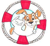 Pedro Pet Pals (San Pedro, California) of cat, dog, bird, red and white life preserver, rope, pedro pet pals