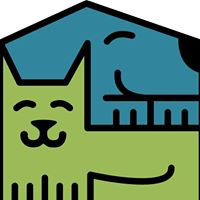 People for Pets (Spencer, Iowa) of green cat, blue dog, house shape, hugging