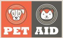Pet Aid (Denham Springs, Louisiana) logo of two squares, orange, grey, dog, cat, heads, circles, pet aid