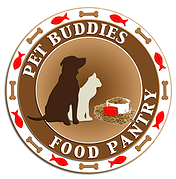 Pet Buddies Food Pantry (Acworth, Georgia) logo is a cat and dog with overflowing food bowls in a circle with bones and fish