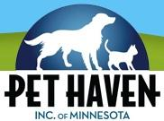 Pet Haven Inc. of MN (Minneapolis, Minnesota) logo is a white dog and cat under a blue dome with a grass and sky background