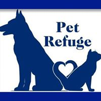 Pet Refuge (Mishawaka, Indiana) logo is a dog and cat sitting back to back forming a heart with their tails beneath the org name