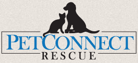 PetConnect Rescue (Potomac, Maryland) logo of black dog and cat, where animals are one step closer to home, petconnect rescue