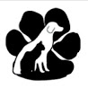 Pets Are Worth Saving, Inc. (PAWS) (Florence, Alabama) logo is a black cat and white dog incorporated with a black pawprint