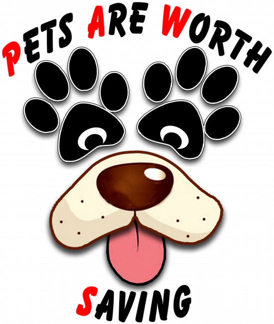Pets Are Worth Saving (PAWS) (Corona, California) logo is a dog face with pawprints for eyes in the middle of the org name