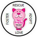 """Pets Bring Joy (Fairfax, Virginia) logo is the org name on a pink cat surrounded by """"ADOPT,"""" """"RESCUE,"""" """"FOSTER,"""" and """"LOVE"""""""