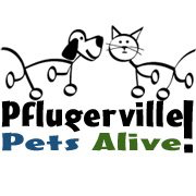 Pflugerville Pets Alive! (Pflugerville, Texas) logo of dog and cat stick figures, silhouettes, Pflugerville Pets Alive!