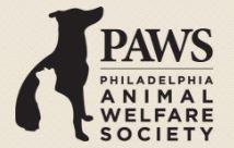 Philadelphia Animal Welfare Society (PAWS) (Philadelphia, Pennsylvania) logo of black dog, white cat, PAWS