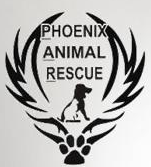 Phoenix Animal Rescue (Chester Springs, Pennsylvania) logo of paw print, angel feather wings, black dog, white cat