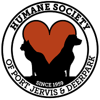 Humane Society of Port Jervis/Deerpark (Port Jervis, New York) logo has a dog and cat forming the bottom of a heart in a circle