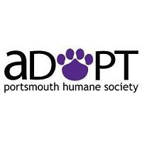 """Portsmouth Humane Society (Portsmouth, Virginia) logo is """"ADOPT"""" with a purple paw print for the """"O"""" above the org name"""