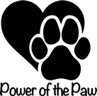 Power of the Paw (Post Falls, Idaho) logo is a black heart with a black paw print in front of it above the organization name