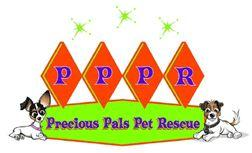 """Precious Pals Pet Rescue (Encino, California) logo is """"PPPR"""" in diamond shapes above a banner with the org name and two dogs"""