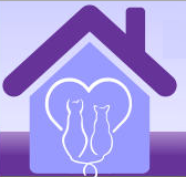 Preen Acres Cat Sanctuary (Live Oak, Florida) logo is two cats in a heart inside a house