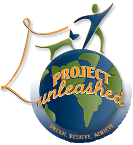 Project Unleashed (Malibu, California) logo is a person and a dog on top of the world with a loose leash
