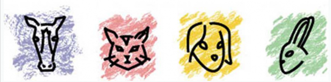 Pulaski County Humane Society (Waynesville, Missouri) logo is a horse, cat, dog, and rabbit with different colored backgrounds