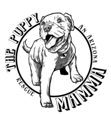 The Puppy Mamma, (Apache Junction, Arizona) logo drawing of puppy stepping out of a circle
