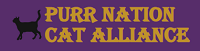 Purr Nation Cat Alliance (Roswell, Georgia) logo is a black cat next to the organization name on a purple background