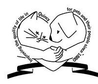 Quincy Humane Society (Quincy, Illinois) logo is arms around a dog and cat forming a heart