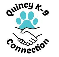 Quincy K-9 Connection (Quincy, Illinois) logo is a pawprint above two shaking hands surrounded by the organization name