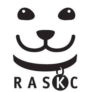 """Regional Animal Services of King County (Kent, Washington) logo is a dog face with """"RASKC"""" below it with the """"K"""" on its tag"""