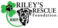 Riley's Rescue Foundation (Streamwood, Illinois) logo is a black dog head and a clover with a pawprint on it
