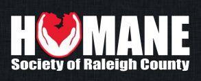 """Humane Society of Raleigh County (Beckley, West Virginia) logo has hands cupping a dog and cat to form the """"u"""" in """"Humane"""""""