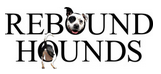 """Rebound Hounds (New York, New York) logo is the organization name with a dog head and a dog tail inside the """"O""""s."""