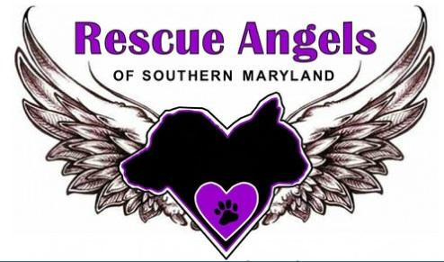 Rescue Angels of Southern Maryland (Waldorf, Maryland) logo is a purple heart with a pawprint on dog and cat profiles with wings