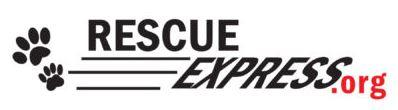 Rescue Express Transport (Eugene, Oregon) logo is the organization web address with two pawprints
