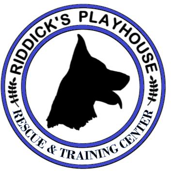 Riddick's Playhouse Rescue & Training Center (Murchison, Texas) logo dog in blue circle