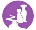 Rifle Animal Shelter (Rifle, Colorado) logo is a circle with a purple background and a white dog and cat sitting next to a river