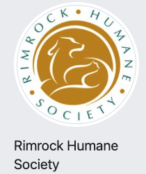 Rimrock Humane Society, (Roundup, Montana), logo is white circle with name in blue inside with stylized dog and cat in brown