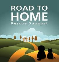 Road to Home Rescue Support (Wantagh, New York) logo is a dog and cat sitting on a road that leads to a house and trees
