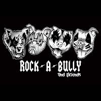 Rock-A-Bully and Friends Rescue (Bellaire, Texas) logo is four dog faces wearing KISS band makeup