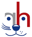"""Roice-Hurst Humane Society (Clifton, Colorado) logo is a combined dog and cat face made with a backwards """"r"""" and an """"h"""""""