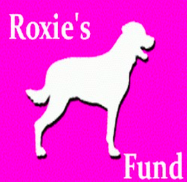 Roxie's Fund (Silver Spring, Maryland) logo is a white dog and the organization name on a purple-pink background