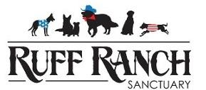 Ruff Ranch Sanctuary (Middletown, Virginia)   logo of dogs, cowboy hats, American flag, Ruff Ranch Sanctuary