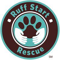 Ruff Start Rescue (Princeton, Minnesota)   logo of brown paw print, white hands, circles, Ruff Start Rescue