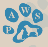 Rutherford County PAWS (Murfreesboro, Tennessee) logo is blue paw print with dog and cat outline and abbreviation in toes